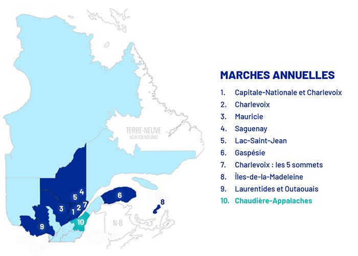 Carte de la province avec les marches annuelles