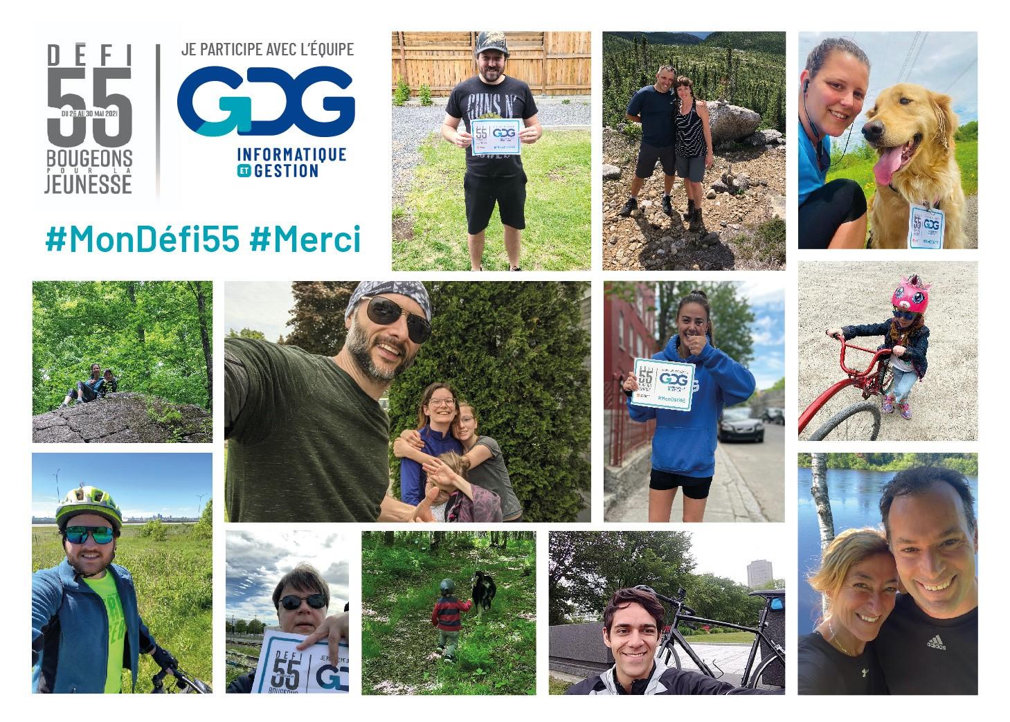 Montage de photos des participants de GDG au Défi 55 de Motivaction Jeunesse