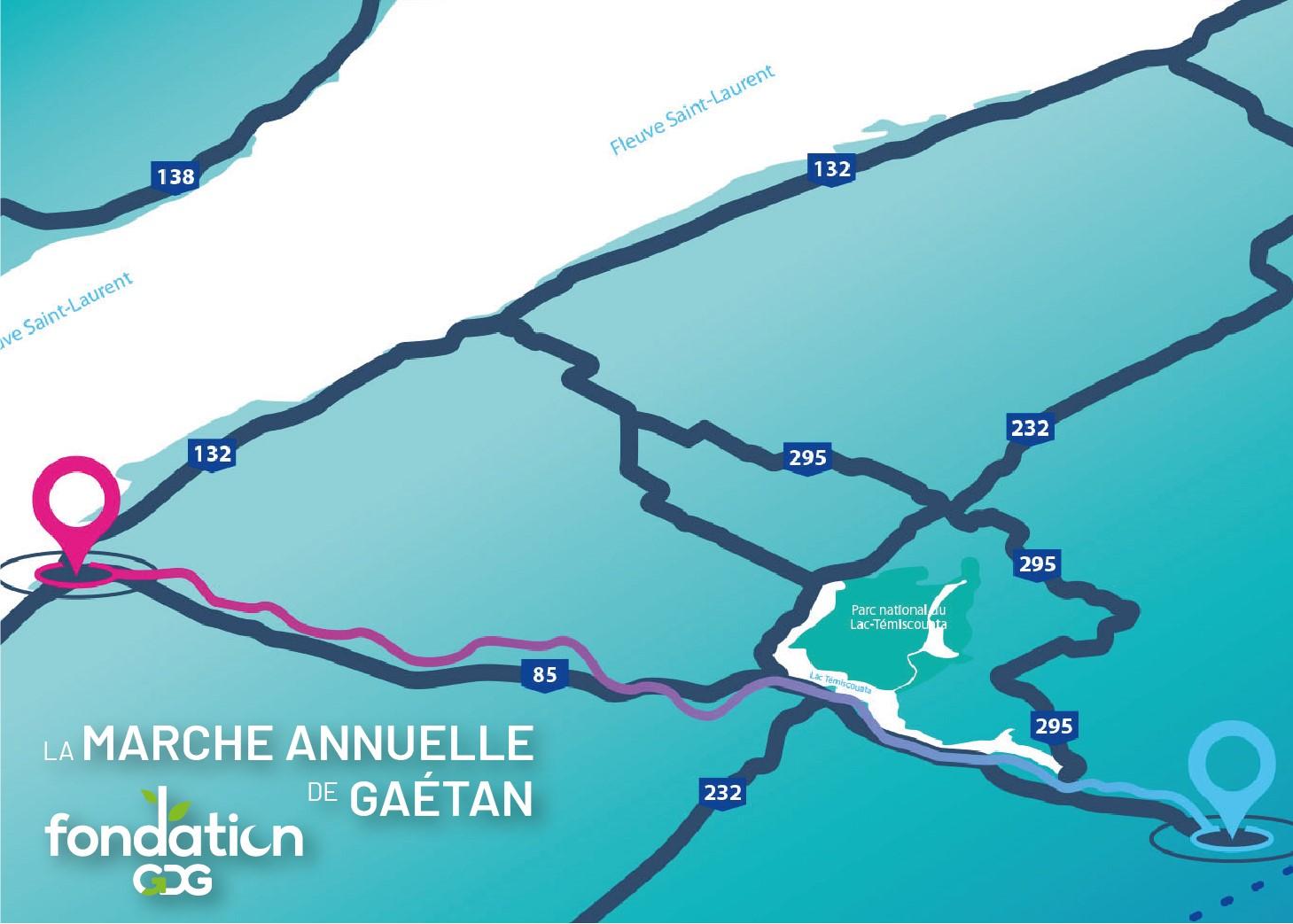 Trajet 2021 de la marche de Gaétan. Pour cette 11e édition, Gaétan traversera la région du Bas-Saint-Laurent, partant de la frontière du Nouveau-Brunswick pour se rendre jusqu'au Fleuve Saint-Laurent, en empruntant notamment Le Petit-Témis. Cette marche d'un peu plus de 100 kilomètres est prévue entre les 17 et 21 juin.