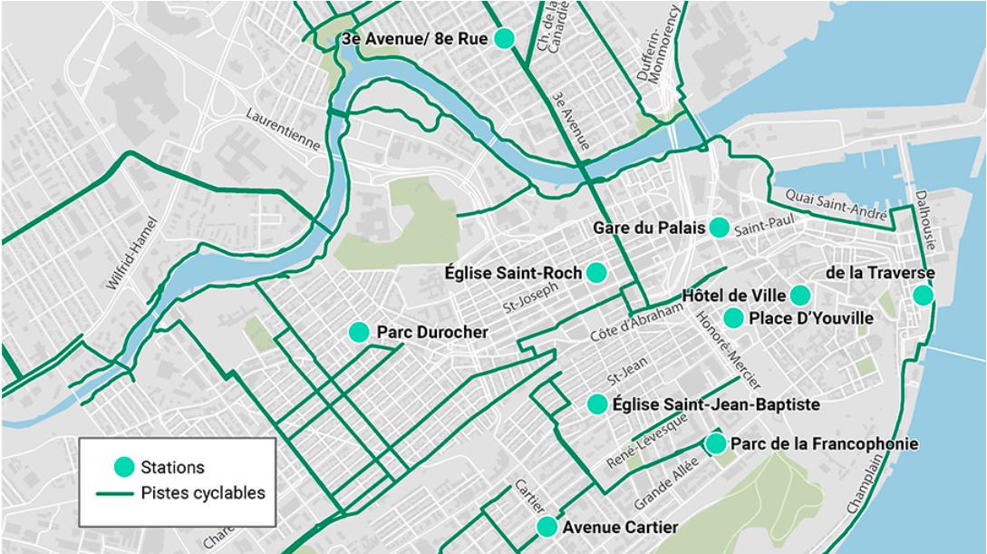 Carte des stations du nouveau service de vélo-partage à assistance électrique du RTC, àVélo, commandité par GDG Informatique et Gestion.