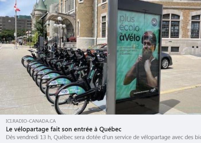 Article sur le site web de Radio-Canada sur le nouveau service de vélo-partage à assistance électrique du RTC, àVélo, commandité par GDG Informatique et Gestion.