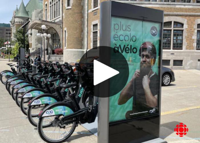 Reportage de Radio-Canada sur le nouveau service de vélo-partage à assistance électrique du RTC, àVélo, commandité par GDG Informatique et Gestion.